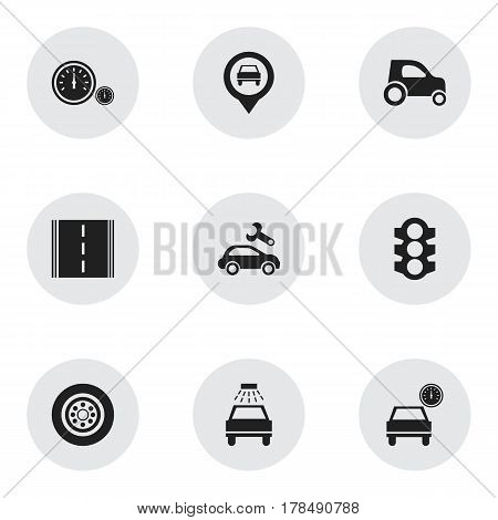 Set Of 9 Editable Car Icons. Includes Symbols Such As Highway, Car Lave, Pointer And More. Can Be Used For Web, Mobile, UI And Infographic Design.