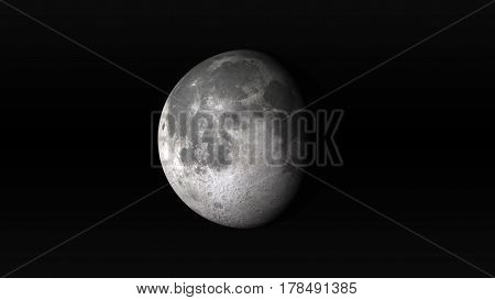 The Moon in waning gibbous phase on a black background. Digital illustration. Moon texture is public domain provided by NASA.