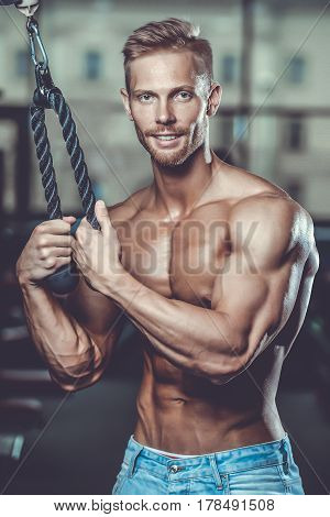 Brutal Caucasian Handsome Fitness Men On Diet Training Triceps Gym