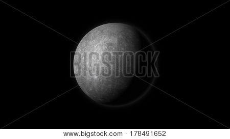 Planet Mercury on a black background. Digital illustration. Mercury texture is public domain provided by NASA.