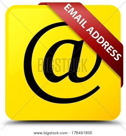 Email Address Yellow Square Button Red Ribbon In Corner