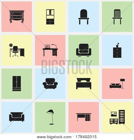 Set Of 16 Editable Furnishings Icons. Includes Symbols Such As Lectern, Cupboard, Recliner And More. Can Be Used For Web, Mobile, UI And Infographic Design.