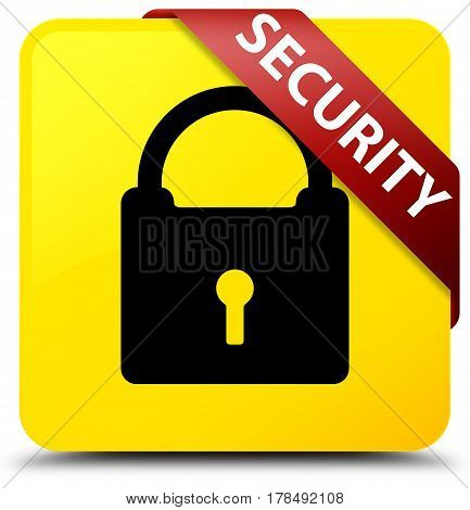 Security (padlock Icon) Yellow Square Button Red Ribbon In Corner
