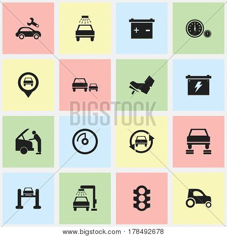 Set Of 16 Editable Traffic Icons. Includes Symbols Such As Accumulator, Speed Display, Car Lave And More. Can Be Used For Web, Mobile, UI And Infographic Design.