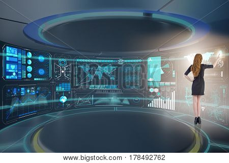 Businesswoman in online trading concept