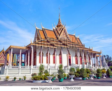 Famous ancient Silver Pagoda in Phnom Penh, Cambodia