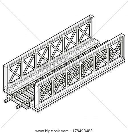 Vector train bridge in isometric 3d perspective isolated on white background. Industrial transportation building. Metallic architecture. Outline railway bridge with rail. Assembled bridge construction
