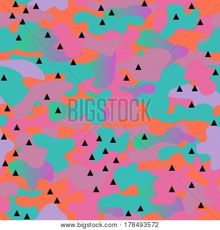 Camouflage seamless pattern. Memphis style trend. Bright abstract background.