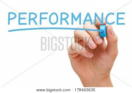 Hand writing Performance with blue marker on transparent wipe board.