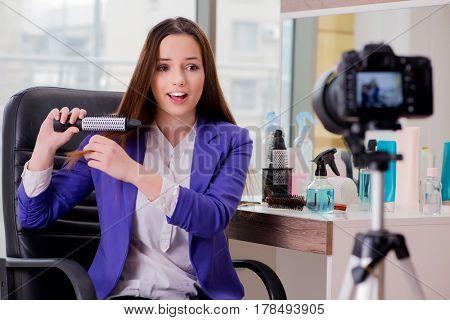 Beauty fashion blogger recording video