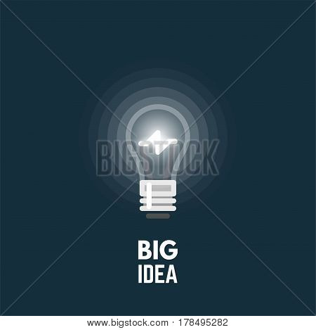 Big idea concept. Light bulb glowing in the dark. Old lightbulb form. Line style vector. Opacity circles from light source.