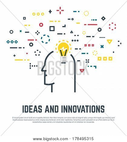 Big idea concept. Human head with lightbulb and abstract thoughts in geometric colored shapes. Old light bulb form. Line style vector. Imagination and innovation creativity and thinking.