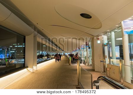 TOKYO JAPAN - NOV 22 2016: International arrivals at Narita International Airport (NRT) one of two main airports serving the Tokyo metropolitan area in Japan.
