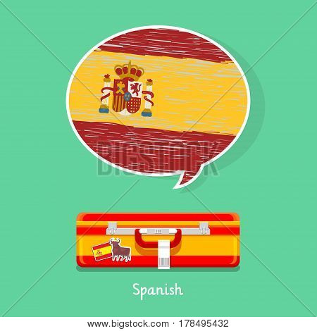 Concept of travel to Spain or studying Spanish. Hand drawn Spanish flag in speech bubble above suitcase with Spanish symbols.