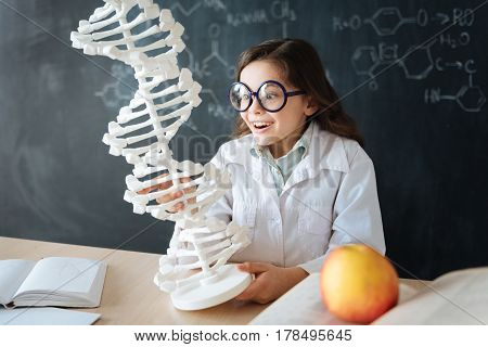 Amazed from new discoveries. Surprised delighted little pupil sitting in the lab and enjoying science class while studying and exploring chromosome model