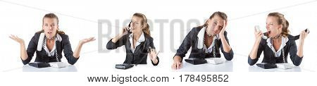 Call center assistant responding to calls