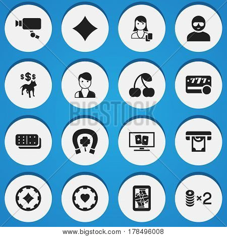 Set Of 16 Editable Excitement Icons. Includes Symbols Such As Wager, Tracking Cam, Bones Game And More. Can Be Used For Web, Mobile, UI And Infographic Design.