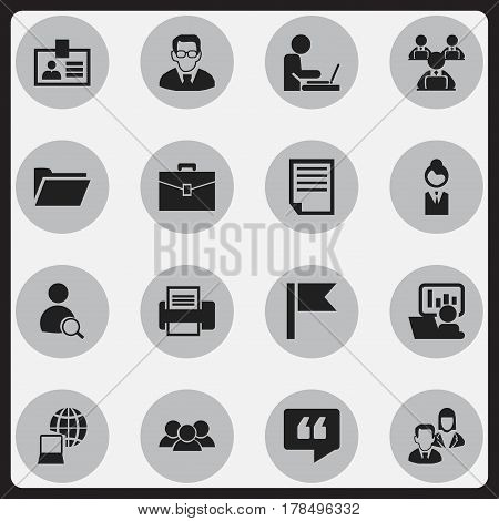 Set Of 16 Editable Company Icons. Includes Symbols Such As File, Professor, Job Woman And More. Can Be Used For Web, Mobile, UI And Infographic Design.