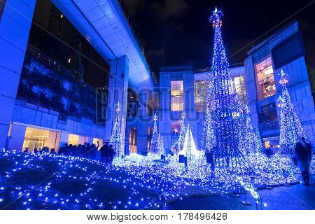TOKYO JAPAN - November 26 2016: Illuminations light up at Caretta shopping mall in Shiodome district Odaiba area. The illuminations prepared for the forth coming Christmas Eve