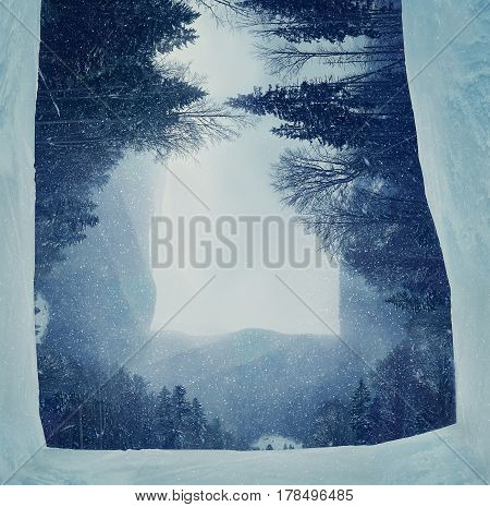 Winter panorama of the mountian forest with snowy fir tree on the foreground during snowfall in cold winter weather. Three dimensional landscape holiday journey travel concept.