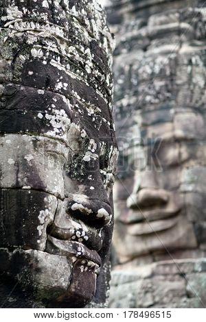 Giant Stone Face Of Prasat Bayon Temple, Cambodia