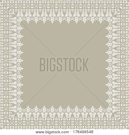 Classic vector white square frame with arabesques and orient elements. Abstract ornament with place for text. Vintage pattern