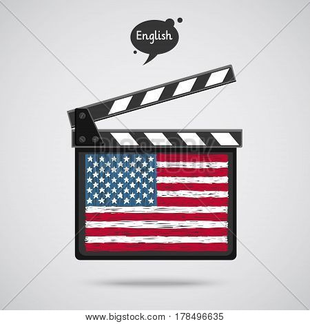 Concept of learning languages. Study American English. Movie production clapper board with hand drawn American flag. Film in English.