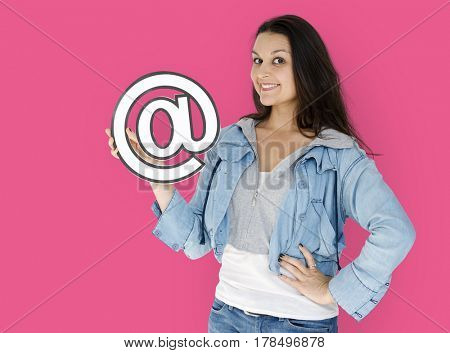 Woman is smiling Holding address sign