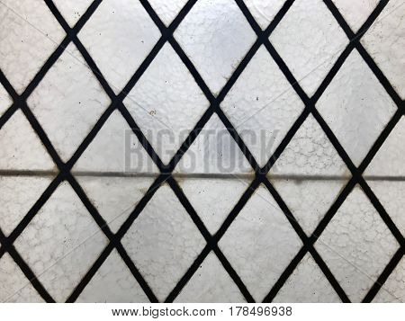 Frosted stained glass lead metal lattice pattern old window