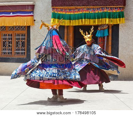 Cham Dance In Lamayuru Gompa In Ladakh, North India