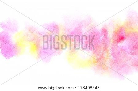 Colorful diffluent watercolor stripe. Vivid abstract background of different colors