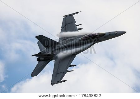 MELBOURNE, AUSTRALIA - MARCH 25: An Royal Australian Air Force FA18F Super Hornet performs in a public display above Melbourne on March 25, 2017