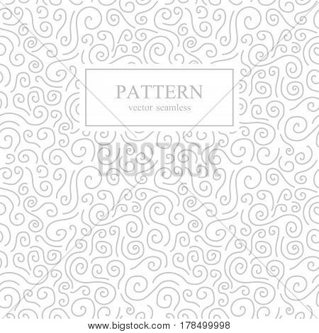 Curve seamless pattern. White and gray background.