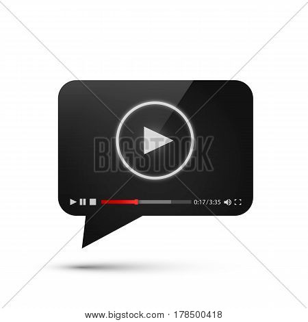 Chat video frame flat icon, Black object design element, Vector