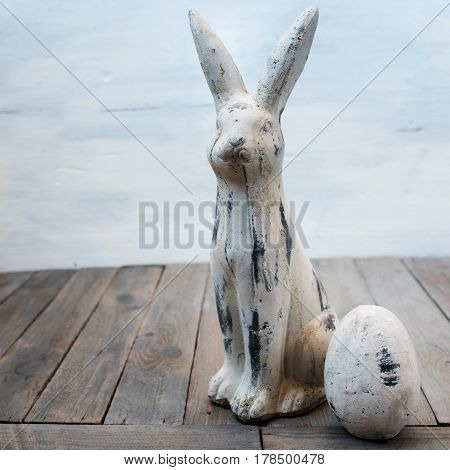 Easter decoration with bunny and egg in shabby chic style close up