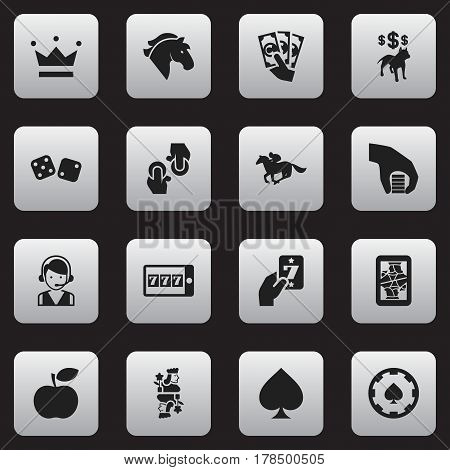 Set Of 16 Editable Gambling Icons. Includes Symbols Such As Knight, Dog Fighting Bet, Jockey And More. Can Be Used For Web, Mobile, UI And Infographic Design.