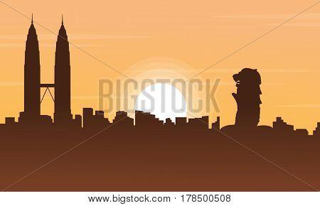 Singapore and Malaysia city tour scenery silhouettes illustration
