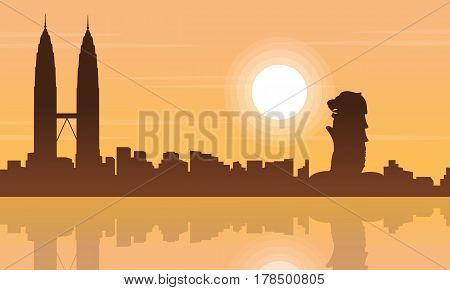 Singapore and Malaysia city beauty landscape silhouettes vector