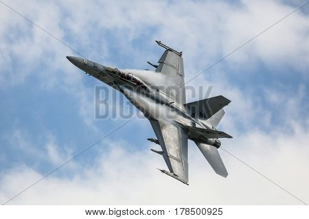 MELBOURNE, AUSTRALIA - MARCH 25: An Royal Australian Air Force FAA18F Super Hornet performs in a public display above Melbourne on March 25, 2017