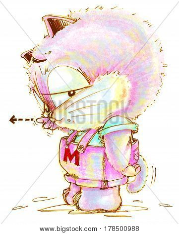 Cat cartoon complaining and pointing to someone. Character pencil color hand drawing design.