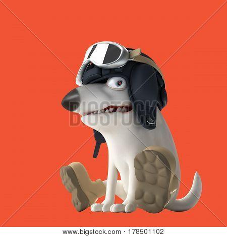 Tanker dog 3d illustration. Funny bull terrier on red background. Cartoon character.