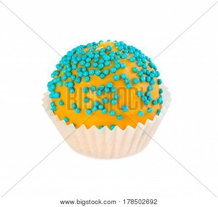 Cake Ball In Yellow Glaze With Blue Sprinkles