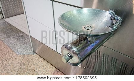 Free Drinking Water Or Drinking Fountain For Traveler In The Departure Of The Airport. Public Drinki