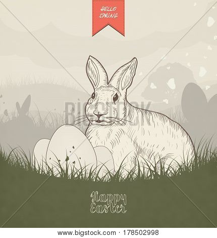 Hand drawn grunge Easter card with Easter Bunny grass butterflies Easter eggs and field