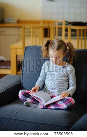 The nice girl of younger school age reads the book. She sits having crossed legs on a soft sofa. The girl is keen on reading.