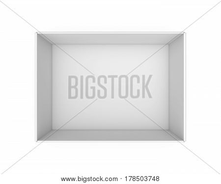 3d rendering of a white blank rectangle box without a lid as seen from above. Boxes and containers. Delivery and packing. Empty package.