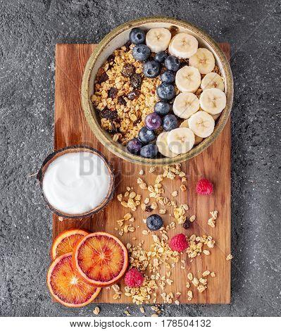 Granola Berry Brunch With Yogurt And Milk