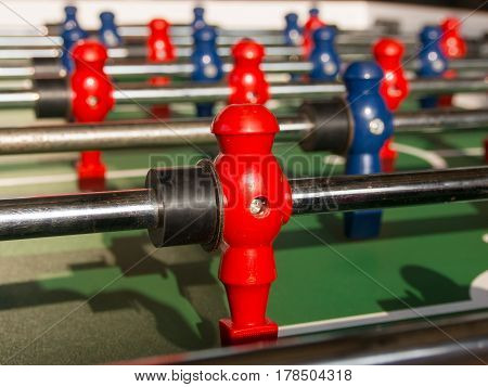 Table Football Game With Red And Blue Players Team