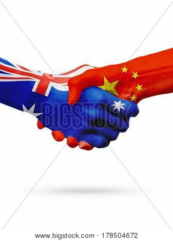 Flags Australia China countries handshake cooperation partnership friendship or sports national team competition concept isolated white