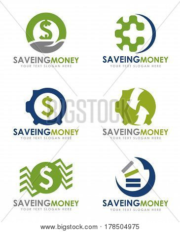 Saving money economical logo vector set design